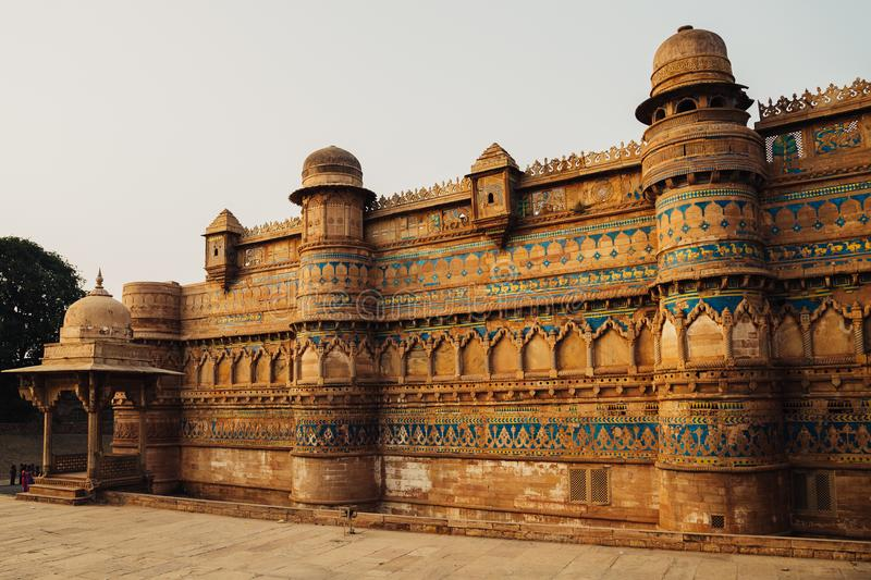 Gwalior fort, ancient architecture in India stock images