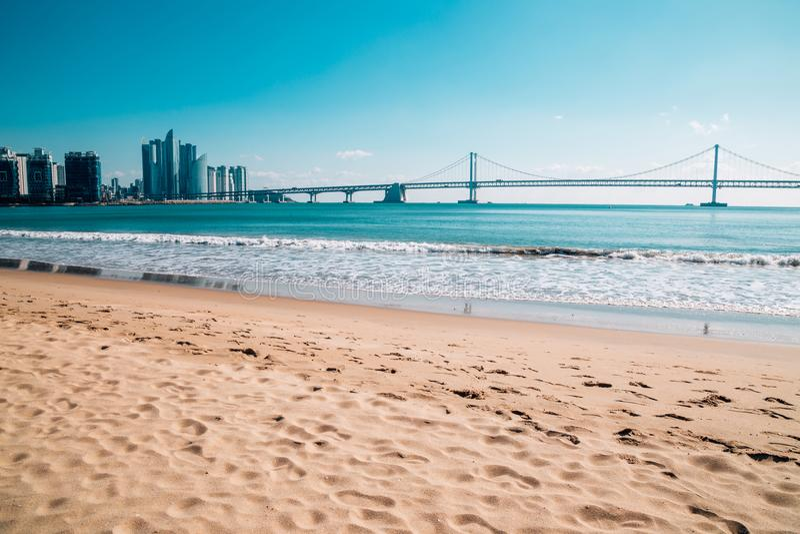 Gwangan bridge with beach in Busan, Korea. Asia stock photos