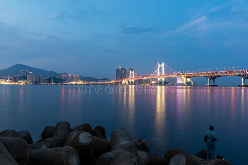 Gwangan Bridge and Haeundae in Busan City,South Korea.  stock image
