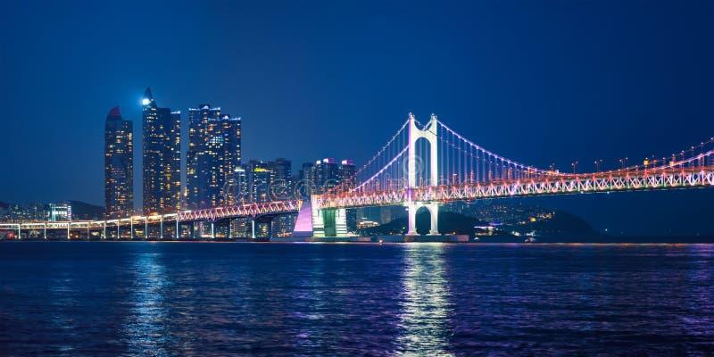 Gwangan Bridge and skyscrapers in the night. Busan, South Korea stock photos