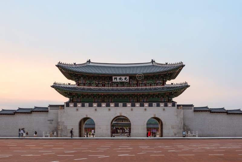 GwangHwamun at sunset, the main gate to Gyeongbokgung Palace, the main and most important royal palace during the Joseon Dynasty, stock photos