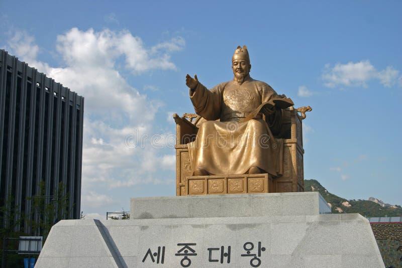 Gwanghwamun广场雕象,汉城,韩国 免版税库存图片