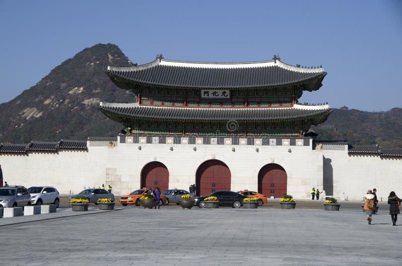 Gwanghwamun brama przy Gyeongbokgung pałac śródmieściem Seul obrazy royalty free
