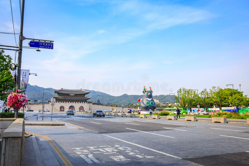 Gwanghwamun Gate on Jun 19, 2017 in Seoul city, Korea royalty free stock image