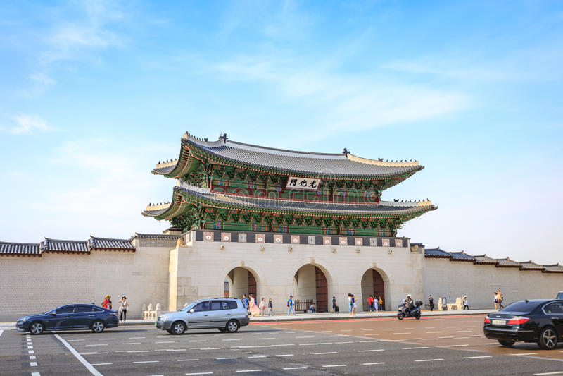 Gwanghwamun Gate on Jun 19, 2017 in Seoul city, Korea royalty free stock photography