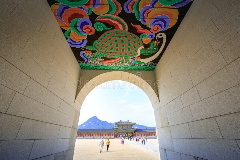 Gwanghwamun Gate on Jun 19, 2017 in Seoul city, Korea stock photography