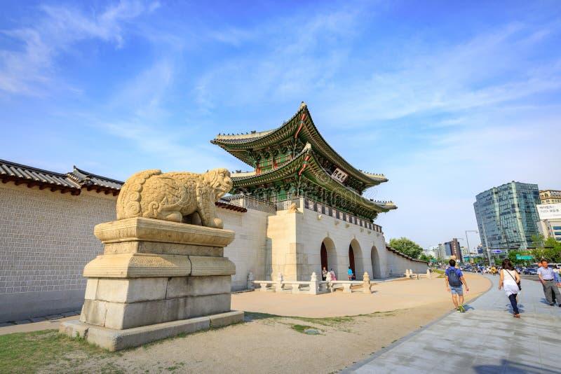 Gwanghwamun Gate on Jun 19, 2017 in Seoul city, Korea stock images