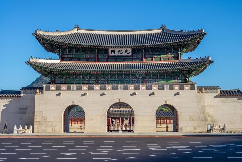 Gwanghwamun, main gate of Gyeongbokgung Palace. Gwanghwamun is the main and largest gate of Gyeongbokgung Palace, in Jongno-gu, Seoul, South Korea royalty free stock images