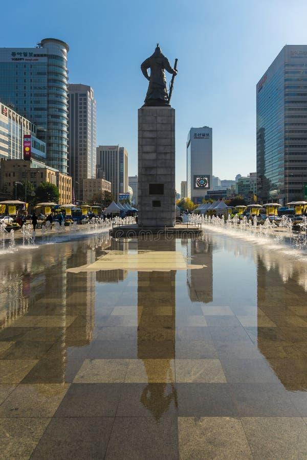 Gwanghwamunvierkant, Seoel, Zuid-Korea royalty-vrije stock afbeelding