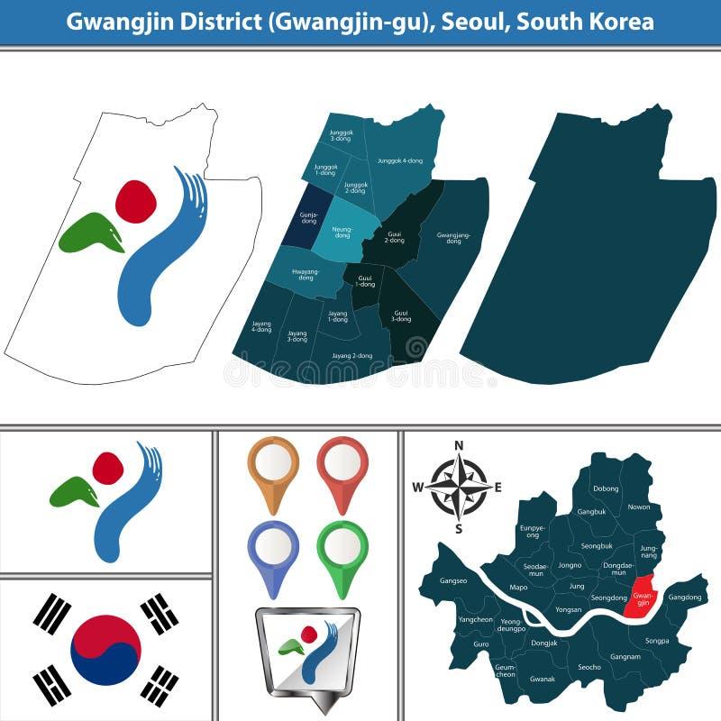Gwangjindistrict, de Stad van Seoel, Zuid-Korea royalty-vrije illustratie