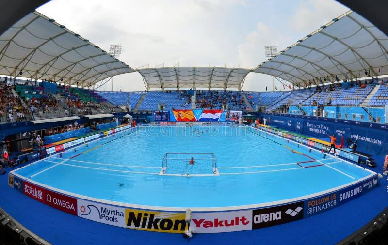 Inside the Nambu University Municipal Aquatics Center temporary pool royalty free stock images