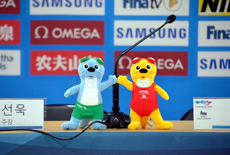 Suri and Dari otter mascots royalty free stock photo