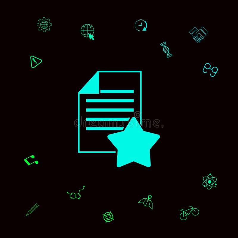 Gwaranci prześcieradło papier z gwiazdą ikona Graficzni elementy dla twój designt ilustracja wektor