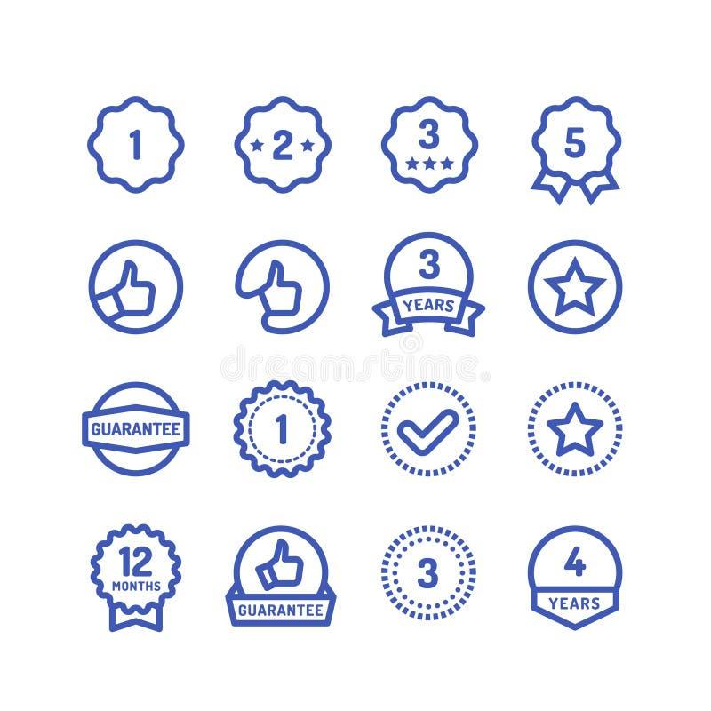 Gwarancja znaczków kreskowe ikony Towarowej wytrzymałościowej gwaranci kółkowi wektorowi symbole odizolowywający ilustracji