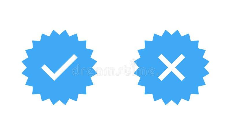 Gwarantowany znaczka set lub weryfikowa? odznaka Weryfikowa? ikona znaczek ilustracji
