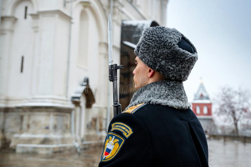 Gwardia honorowa Prezydencki pułk usługa Moskwa Kremlin's Commandant zdjęcia royalty free