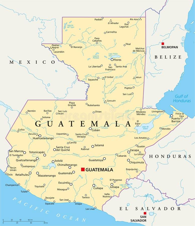 Gwatemala polityczna mapa ilustracja wektor