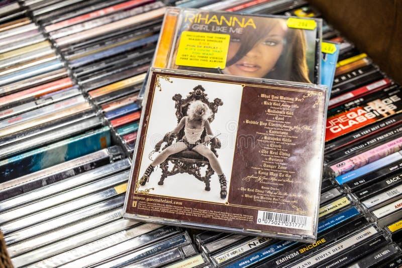 Gwen Stefani-CD albumliefde Engel Muziek Baby 2004 op vertoning voor verkoop, beroemde Amerikaanse zanger en songwriter royalty-vrije stock foto