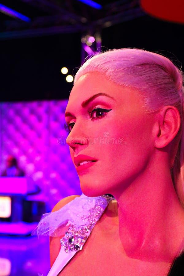 Gwen Stefani, een Amerikaanse zanger, songwriter, een manierontwerper, een actrice, en televisiepersoonlijkheid, Mevrouw Tussauds stock foto
