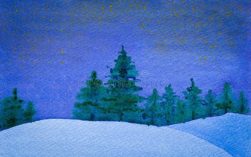 Gwiaździsta i spokojna zimy nocy akwarela ilustracji