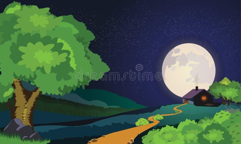 Gwiaździsta Moonlit noc ilustracja wektor