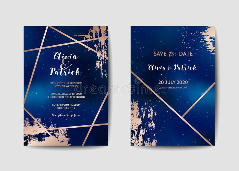 Gwiaździstego nocnego nieba zaproszenia karty Modny Ślubny set, Save Daktylowego Niebiańskiego szablon galaktyka, Interliniuje, g ilustracji