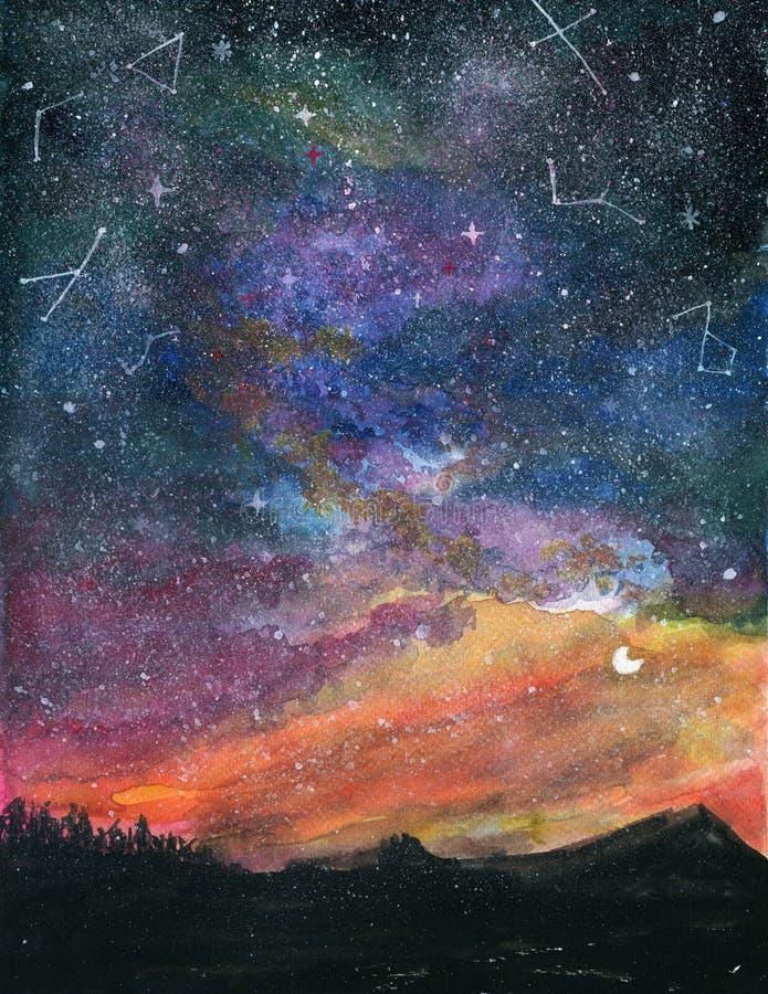 Gwiaździstej nocy krajobraz z milky sposobu galaktyki niebem Colorf i księżyc zdjęcia royalty free
