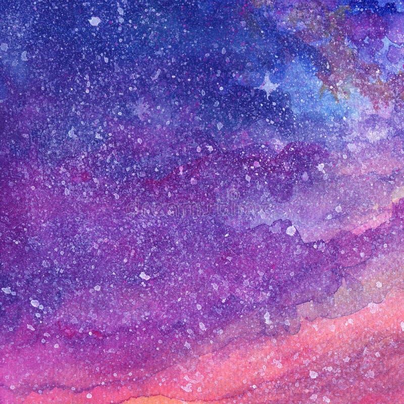 Gwiaździstej nocy krajobrazu chmury gwiazdy akwareli guaszu ręki farba ilustracja wektor