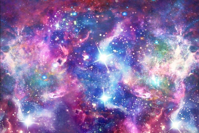 Gwiaździsty galaktyka druk w jednorożec Barwi Bezszwowego wzór ilustracja wektor
