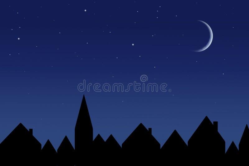 Gwiaździsty niebo i domy ilustracja wektor