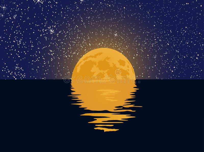 Gwiaździsty niebo i księżyc w pełni z odbiciem w wodzie ilustracji