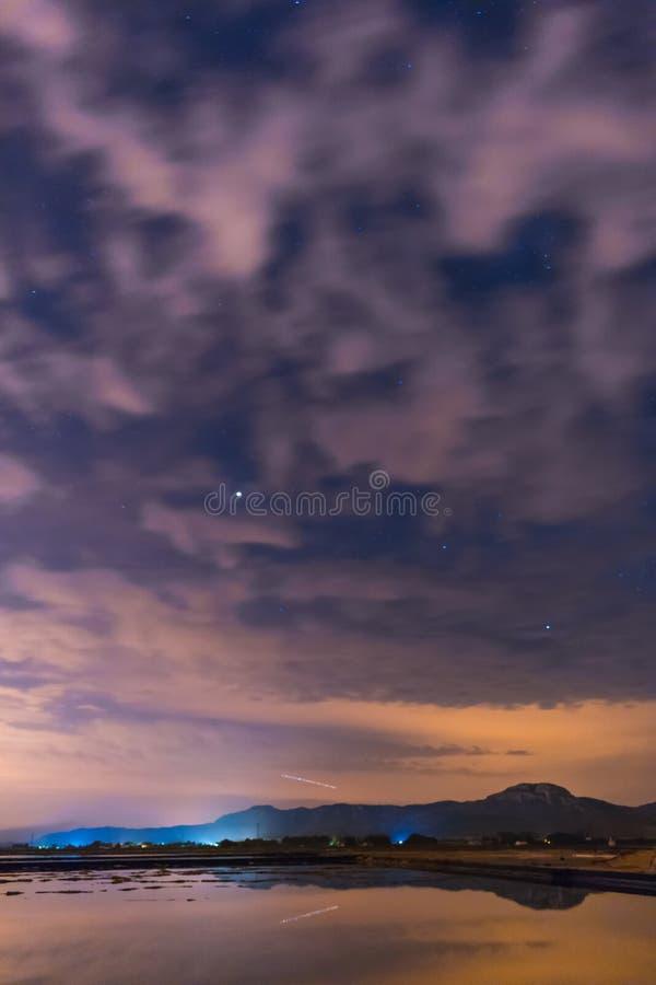 Gwiaździsty niebo odbijający w wodzie obrazy stock