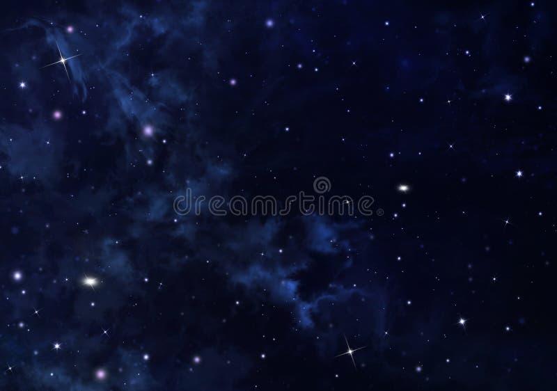 Gwiaździsty niebo w otwartej przestrzeni ilustracja wektor