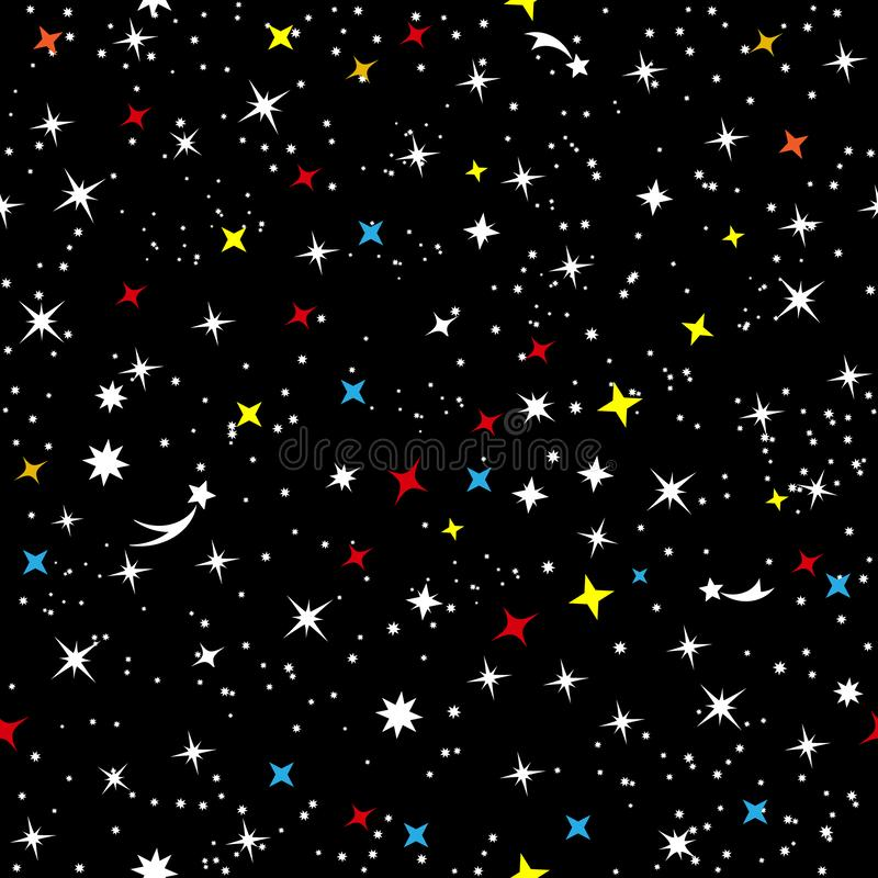 Gwiaździsty niebo wszechświat Abstrakcjonistyczna dziecka ` s przestrzeni prosta rama Gwiazdozbiór galaktyka na czerni bezszwowym royalty ilustracja