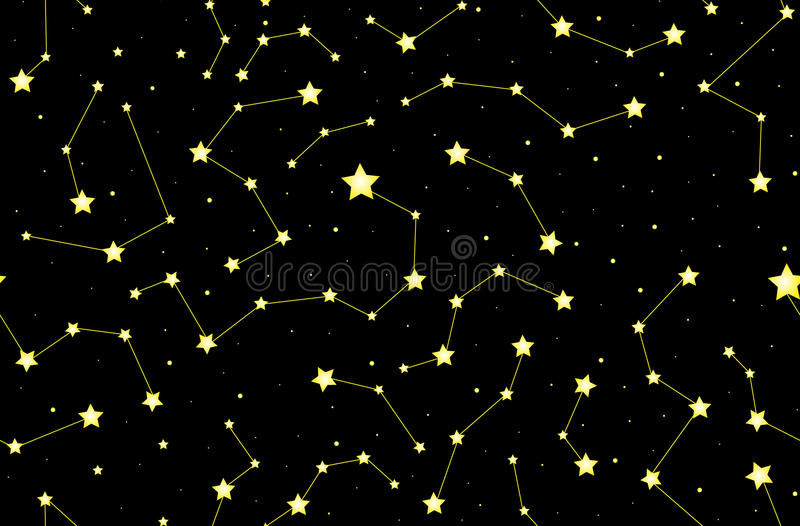 Gwiaździsty wektorowy dekoracyjny bezszwowy wzór z jaśnienie gwiazdozbiorami i gwiazdami na nocnym niebie ilustracji