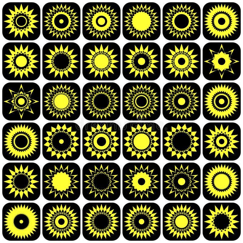 Gwiazd i słońc abstrakta ikony. Projektów elementy ustawiający. royalty ilustracja