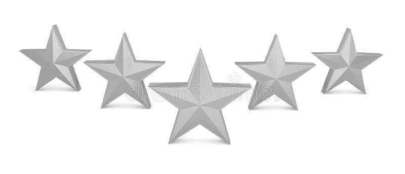 5 gwiazd ilości srebny popielaty sukces najlepszy royalty ilustracja