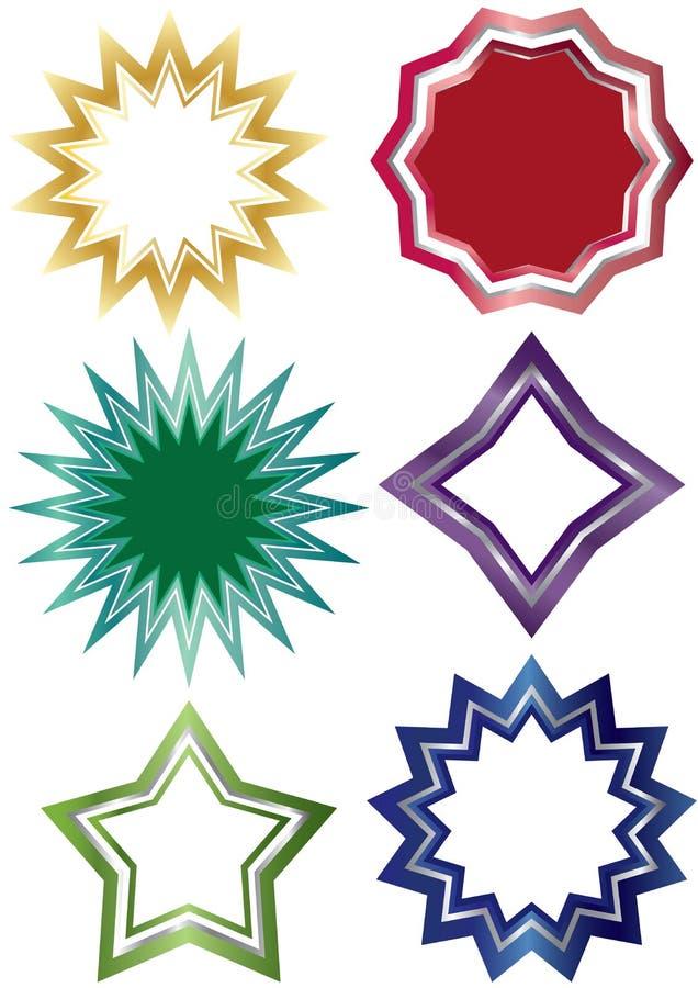 Gwiazd Kształta Etykietka Set_eps royalty ilustracja