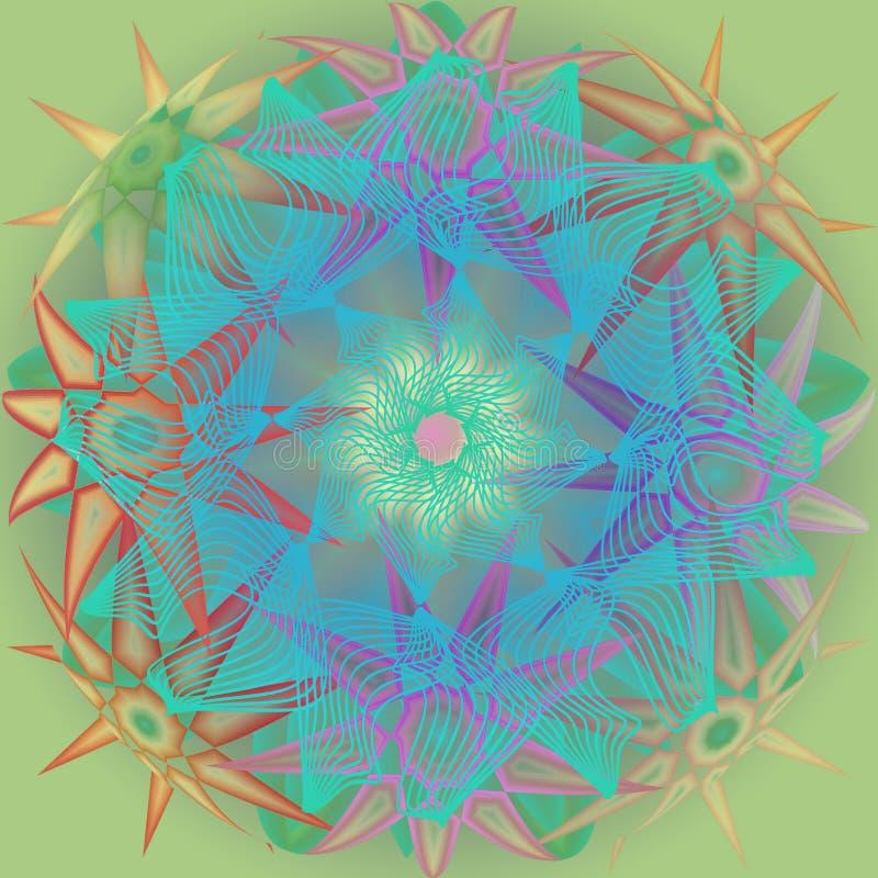 GWIAZD mandala PROSTY seledynu tło ŚRODKOWY LINIOWY kwiat W turkusie GWIAZDY W RÓŻNYCH kształtach W PASTELOWYCH kolorów barłogu ilustracji