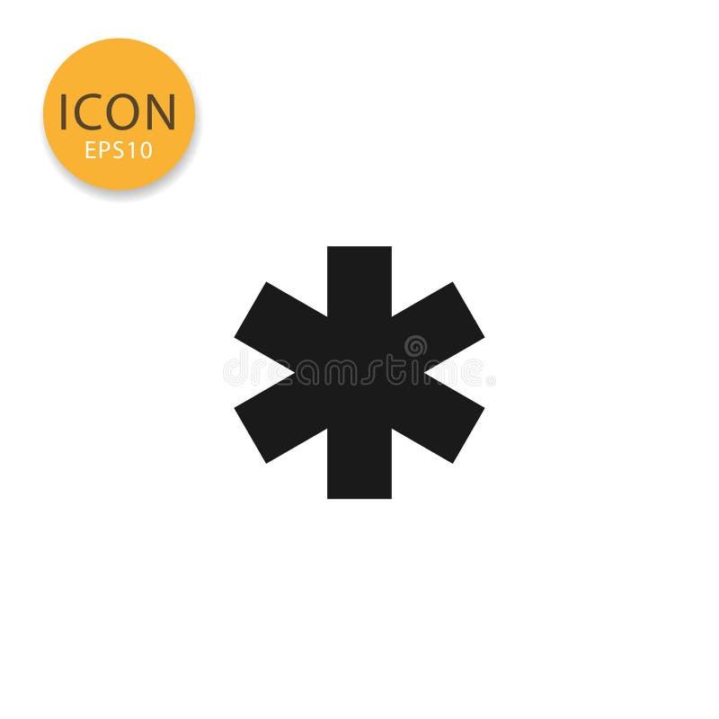Gwiazda życia mieszkania ikona odizolowywający styl ilustracji