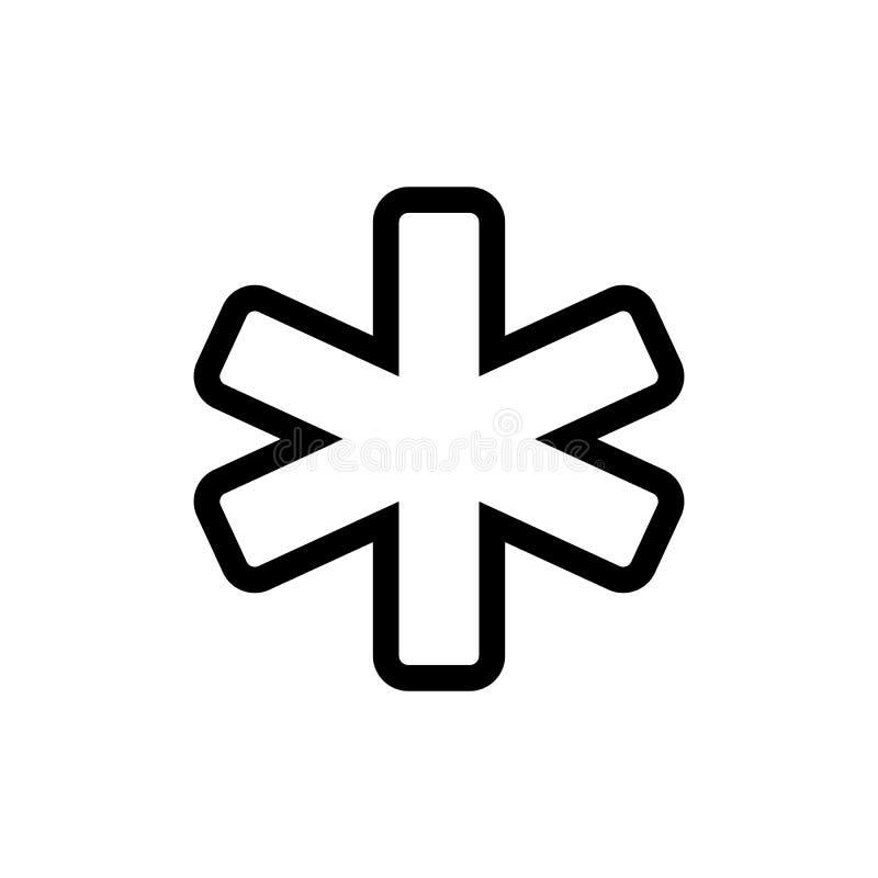Gwiazda życie - medyczny ambulansowy symbol, prosta czarny i biały ikona na białym tle r?wnie? zwr?ci? corel ilustracji wektora ilustracji