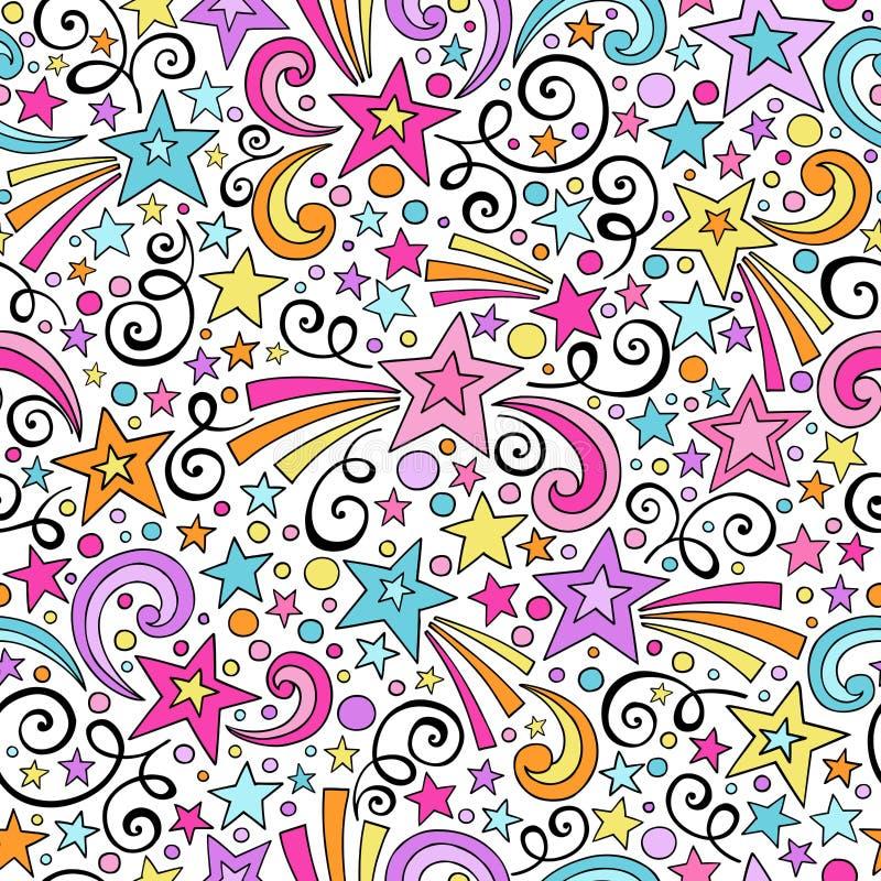 Gwiazda Bezszwowy Deseniowy notatnik Doodles wektor ilustracji
