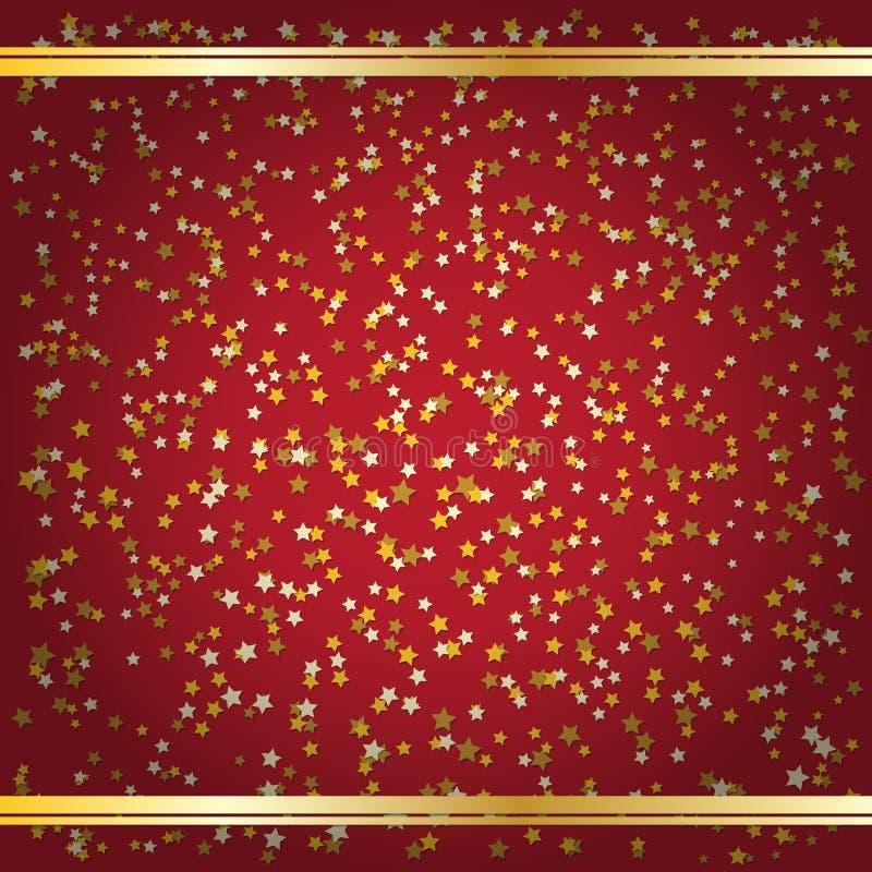 Gwiazda confetti trzy koloru na czerwieni z winiety i złota lampasami niebieski obraz nieba tęczową chmura wektora royalty ilustracja