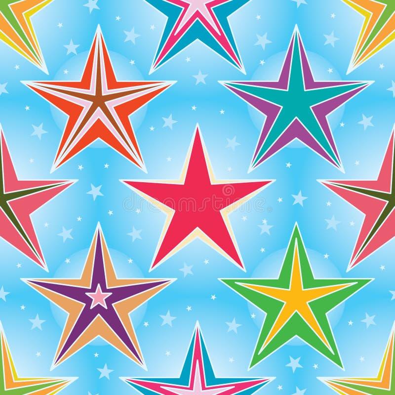 Gwiazda gra główna rolę błękitnego jaskrawego bezszwowego wzór royalty ilustracja