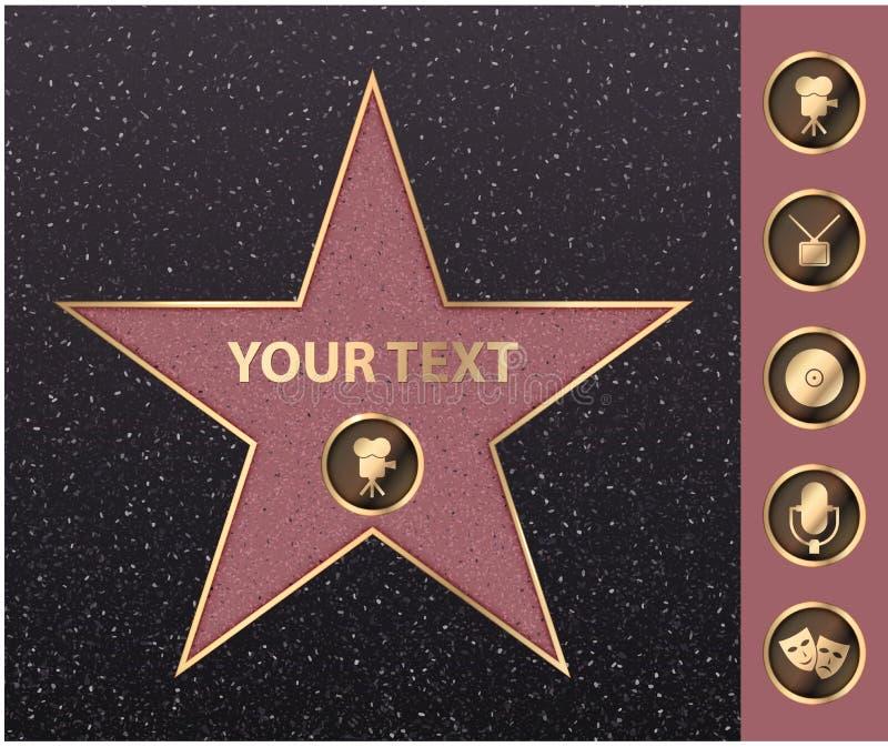 Gwiazda Hollywoodu na osobistości sławie spaceru bulwar Wektorowego symbol gwiazdy filmu aktora gwiazdy hollywoodu kamery złocist royalty ilustracja