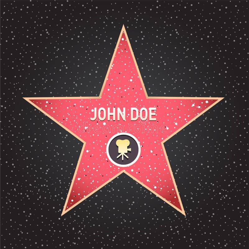 Gwiazda Hollywoodu Spacer sławy gwiazda z emblematami symbolizuje pięć kategorii Hollywood, sławny chodniczek, bulwaru aktor ilustracji