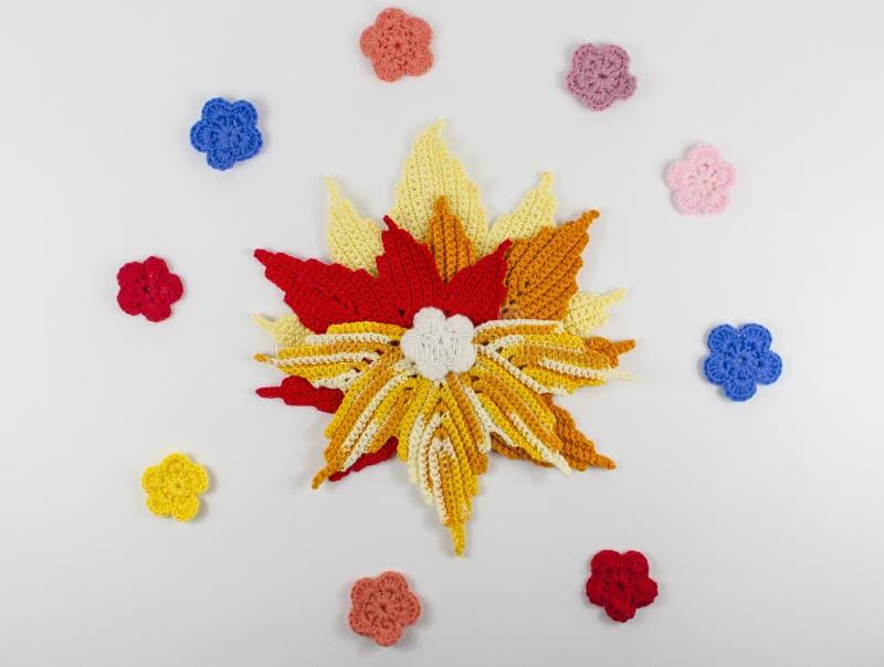 Gwiazda i kwiaty szydełkujący wełna fotografia royalty free