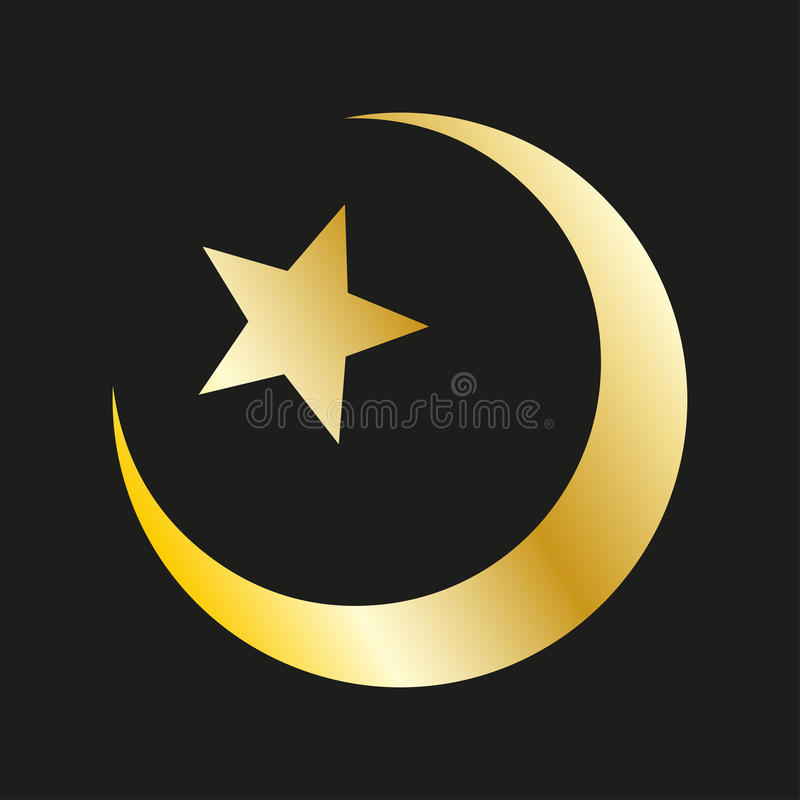 Gwiazda i półksiężyc w złocie symbol islamskiego ilustracji