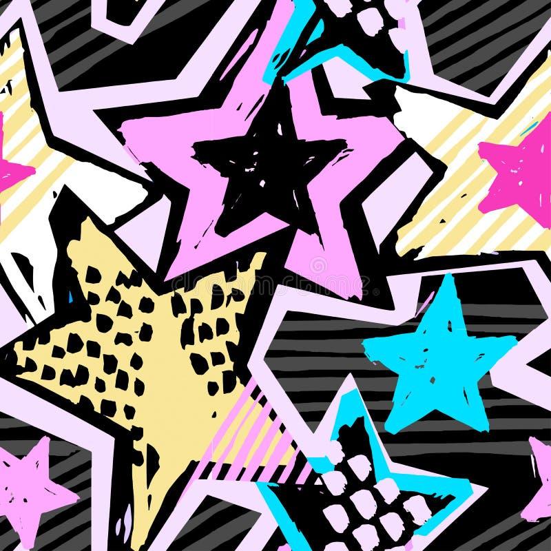 Gwiazda kształtów graffiti ręki bezszwowego rzemiosła atramentu ekspresyjny modniś ilustracji