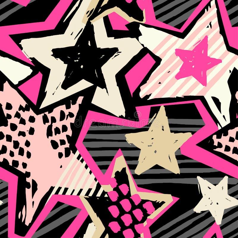 Gwiazda kształtów graffiti ręki bezszwowego rzemiosła atramentu ekspresyjny modniś ilustracja wektor